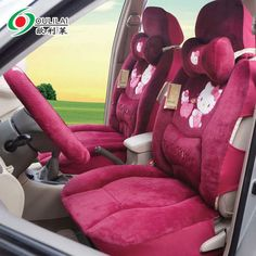 Hello Kitty Auto Car Plush Front Rear Seat Cover 9pcs