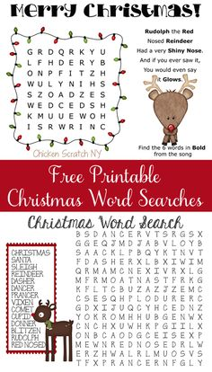 Two Free Printable Reindeer Themed Christmas Word Searches