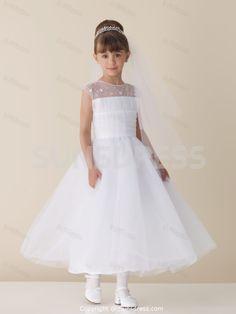 46a18ca51ac White Beading Jewel Neck Sleeveless Tea Length Satin Tulle Flower Girl  Dress Pretty Flower Girl Dresses
