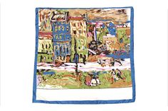 Large Square Silk Twill Scarf Blue theme with by SummerMatcha