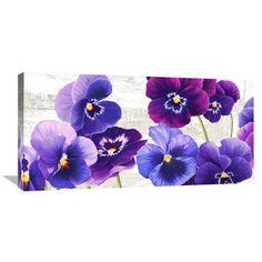 Paars blauw bloemen en Vlinder olieverf Home Decor Schilderij ...