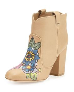Laurence Dacade Pete Tattoo-Print Leather Bootie, Nude/Multi