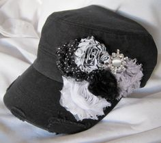BLACK Military Distressed Cadet Army Hat with by theraggedyrose, $34.00