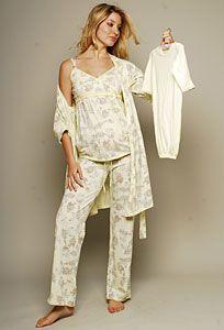 Olian Maternity Olian Maternity Lemon 4 Piece Nursing Pajama Set - TummyStyle.com has Stylish Maternity Clothes and Nursing Clothes by Japanese Weekend, Majamas, Maternal America and 1 In The Oven