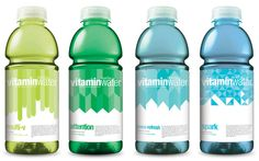 Vitamin Water Redesign by Dorothy Timmer, via Behance Organic Packaging, Water Packaging, Beverage Packaging, Bottle Packaging, Bottle Mockup, Vitamin A, Label Design, Packaging Design, Packaging Ideas