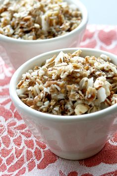 (2011-08) Grain-free granola * ½ cup almond slices * ½ cup sunflower seeds * ½ cup shredded coconut * ¼ cup cashews * 8 pitted dates * ½ teaspoon cinnamon ** Preheat oven to 250°F (~ 120°C). Add the dates to a food processor and puree until smooth. Add the nuts, seeds, coconut and cinnamon and pulse until coarsely chopped and well mixed. Spread mixture over a parchment lined baking sheet. Bake at 250°F/120˚C for about 45 minutes