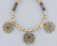 Africa | Necklace; gold, gemstones and enamel.  Fez.  Late 18th century | 31,700£ ~ sold