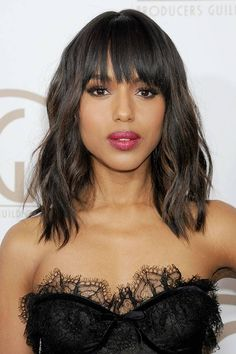 Kerry Washington, long bob con frangia - Capelli long bob di Kerry Washington per la primavera/estate 2014