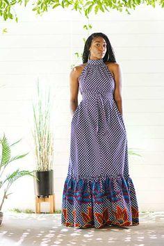 Halter Neck Maxi Dress, Maxi Shirt Dress, Dress Sewing Tutorials, Sewing Blogs, Plus Size Maxi Dresses, Nice Dresses, Simple Long Dress, Long Dress Patterns, African Attire