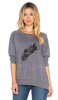 Nation LTD Feather Raglan Sweatshirt in Heather Grey | REVOLVE