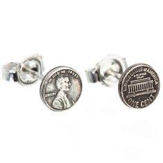 Sterling Silver Lucky Penny Stud Earrings