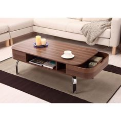 The classic mid-century modern design of this coffee table features smooth, curved lines and a warm walnut veneer that is complemented by the brushed chrome legs. Add the stylish Berkley coffee table to your home, its open design and low profile will give the illusion of more space in your living room. | eBay!
