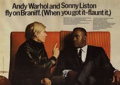 Braniff International 2p Ad, Andy Warhol and Sonny Liston