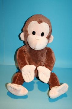 "Curious George brown Monkey soft plush Kohls Cares Applause 17"" stuffed animal"