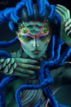 For Lashmaker / Model Alisa Kosmos / Body-Art ValeryStar / Hair Style Anton Ne krasov / Retouch Big Bad Red Derma Wax, See Tattoo, Fantasy Make Up, Make Up Art, Special Effects Makeup, Maquillage Halloween, Halloween Makeup, Hair Raising, Mermaid Makeup