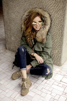 """I'll take that Minusey parka and those Marant sneakers. Perfection, right down to the Cartier """"Love"""" bracelet. (Not visible in this pic, but trust me- perfect look)"""