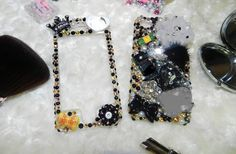 3D Style Bling Phone Back Cover Rhinestones Kawaii Bling Phone Case-Flowers Hearts Bow-Custom Iphone HTC Samsung