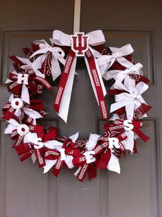 Indiana University wreath with monogrammed door hanger by joelybun