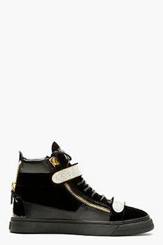 176f89c7292 Giuseppe Zanotti Black Velvet Crystal-buckled Veronica Sneakers for men