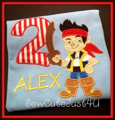 Jake and the Neverland Pirates Birthday Personalized Number Shirt. $21.00, via Etsy.