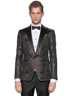 DSQUARED2 Camouflage Lurex Jacquard Tuxedo Jacket, Military Green. #dsquared2 #cloth #jackets