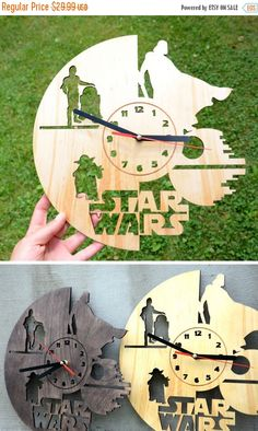 Christmas Sale Star Wars Wall Wood Clock Home decor Housewarming gift Darth Vader Star Wars Gift for Boyfriend Husband Brother Living Room D by EnjoyTheWood on Etsy https://www.etsy.com/listing/469137811/christmas-sale-star-wars-wall-wood-clock