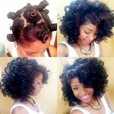 Bantu Knots on blown out hair