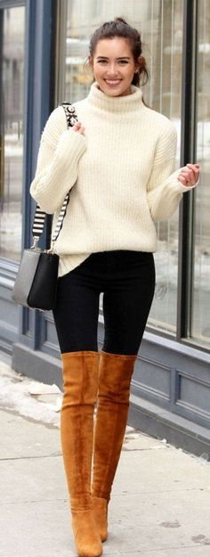 #winter #fashion /  White Knit / Black Skinny Jeans / Brown Velvet OTK Boots