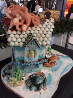 Her finished octopus cake! AMAZING!!!!