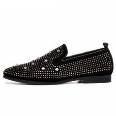 Men's cool dressing studded loafers luxury brand spike black elegant large size