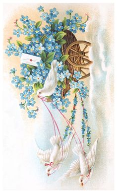 """free printable gorgeous early 1900′s Valentine postcard of white doves pulling a cart of flowers and a heart stamped envelope. The artwork is quintessential early 20th century illustration. It comes from the postcard heyday that started in 1907 when the post office first allowed a divided postcard back for both a message & address. This finally allowed the front of the postcard to be fully available for artwork or photography."""""""