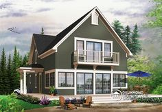 Country Cottage, master bedroom on main floor, open floor plan, lots of natural lights, large deck (# 3510)  http://www.drummondhouseplans.com/house-plan-detail/info/evergreene-cottages-chalets-1002303.html