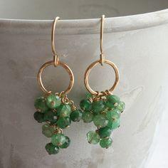 P o m o n a - tsavorite garnet cluster earrings - 14k gold-filled