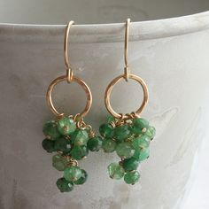 p o m o n a - tsavorite garnet cluster earrings - 14k gold-filled