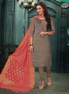 Gray Chanderi Silk Readymade Kameez With Churidar 129888 Churidar, Salwar Kameez, Palazzo Pants, Sari, Fashion Outfits, Suits, Grey, Collection, Style
