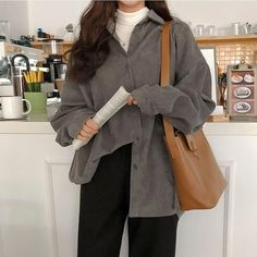 Fall Women Solid Loose Casual Blouses Streetwear Long Sleeve Plus Size Corduroy . Fall Women Solid Loose Casual Blouses Streetwear Long Sleeve Plus Size Corduroy Shirts Elegant Single-Breasted Shirt Retro Outfits, Mode Outfits, Cute Casual Outfits, Fall Outfits, Casual Dresses, Winter Dresses, Casual Boots, Summer Outfits, Korean Winter Outfits