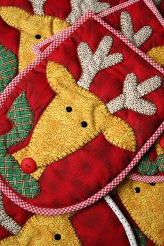 Would be cute potholders, placemats, or quilt blocks OR on the front of a sweat shirt for Christmas Gift!