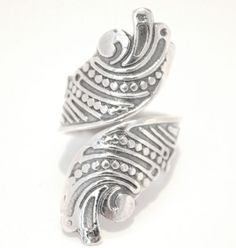 Sterling Silver 925 Ladies Cocktail Ring Boho Hippy Chunky Size 9 R New Swirl
