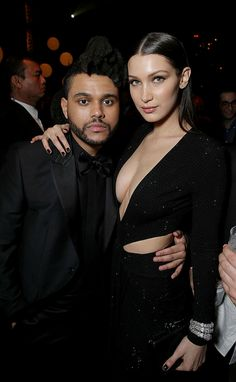 """Abel Tesfaye """"The Weeknd"""" and Bella Hadid at the 2016 Grammy Awards"""