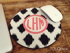 mousepad - ikat pattern with monogram