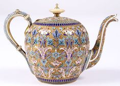 A RUSSIAN SILVER GILT, SHADED AND CLOISONNÉ ENAMELED TEA POT, SALTYKOV, 1895.