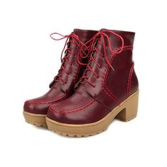 WeiPoot Womens Round Closed Toe Kitten Heels PU Fabric Solid Boots with Chunky Heels and Bandage >>> Insider's special review you can't miss. Read more  : Booties