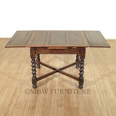 Antique English Solid Oak Jacobean 5Ft Drawleaf Dining Pub Table C1920 P68