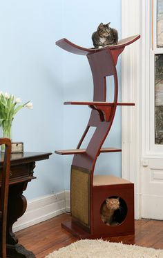 Contemporary Lotus Cat Tree- CrazyCatCondos.com - Cat Furniture litter Containment Purrfect for kittys , Cat Condos ,Cat Gyms For Cat Climbi...