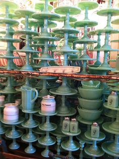 Fire king - this has to be retro, not vintage. Brown's Hardware, Venice CA Vintage Kitchenware, Vintage Dishes, Vintage Glassware, Antique Dishes, Vintage Pyrex, Vintage China, Green Milk Glass, Good Bones, Glass Collection