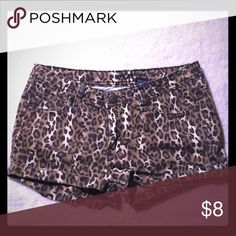 Leopard print shorts Semi stretch. Jean shorts. Size 11/12 Juniors so Medium in woman's Shorts