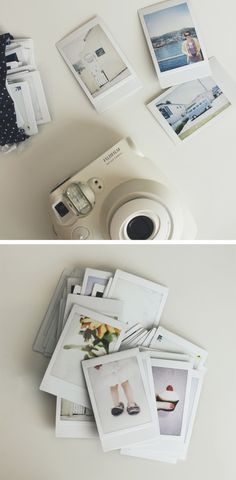 Polaroid camera. Take pictures & prints a copy instantly. Can be bought at stores such Michaels (I saw some there), and Walmart (saw some online).