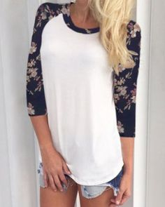 Chic Scoop Collar 3/4 Sleeve Spliced Floral Print T-Shirt For Women