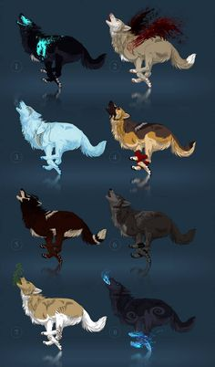 Enfield Adoptables - character auction -CLOSED by akreon on DeviantArt Mystical Animals, Mythical Creatures Art, Magical Creatures, Animal Sketches, Animal Drawings, Cute Drawings, Fantasy Wolf, Fantasy Art, Character Art