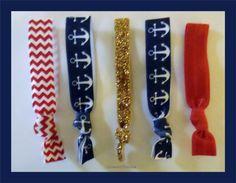 Set 5 ANCHOR Elastic Hair TIES Navy Blue by CrownedPeacock on Etsy, $6.50